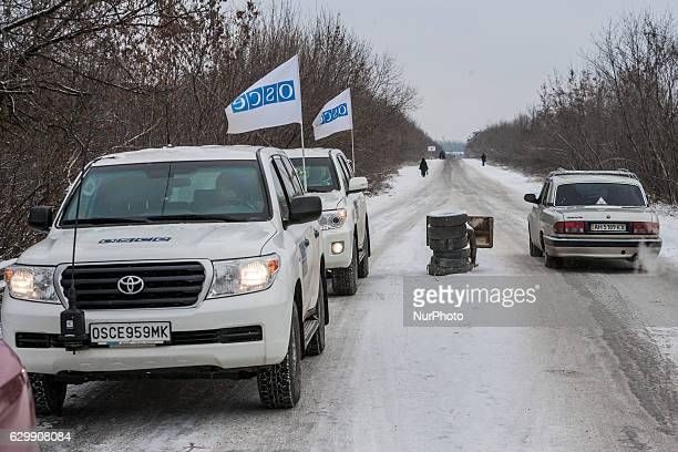 OSCE inspection patrol in the Donetsk People´s Republic checkpoint in Gorlovka Ukraine on December 15 2016