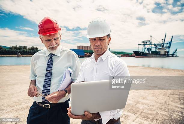 inspections at commercial dock - marine engineering stock photos and pictures