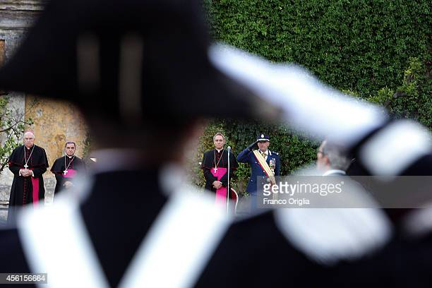 Inspector General Domenico Giani flanked by Prefect of the Pontifical House and former personal secretary of Pope Benedict XVI Georg Ganswein attend...