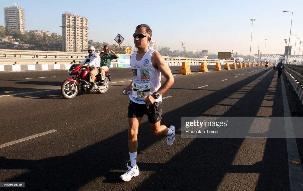 Inspector General of Police in Tamil Nadu Rajiv Trivedi crosses the finishing line of the Mumbai Marathon. He kept a promise made for his fondest buddy slain officer Ashok Kamte. I wanted to pay my tributes to Ashok last year. I finally kept the promise, he said.