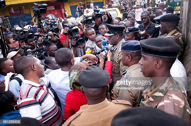 Inspector General of the Kenya Police David Kimaiyo speaks to journalists during a short press conference after two improvised explosive devices went...