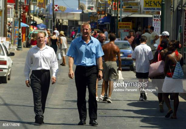 Inspector John Donnelly and Superintenant Andy Rhodes walk around Faliraki Greece The two British Police officers met with Greek authorities on the...