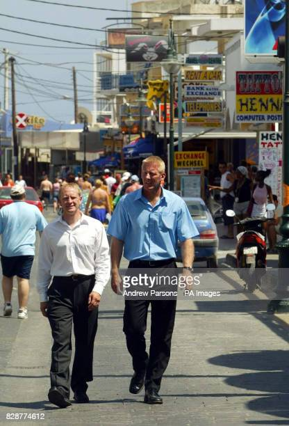 Inspector John Donnelly and Superintendent Andy Rhodes walk around Faliraki Greece The two British Police officers met with Greek authorities on the...