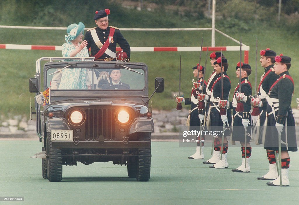 Inspects her troops: The Queen Mother; colonel-in-chief of the Black Watch of Canada; inspects her i : News Photo