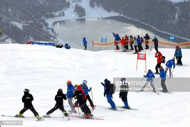 inspects the course during the Audi FIS Alpine Ski World Cup Women's Super G on December 8 2018 in St Moritz Switzerland