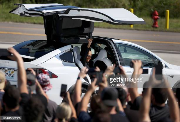 Inspiration4 crew member Sian Proctor waves to the crowd as she and the Jared Isaacman, Hayley Arceneaux and Chris Sembroski prepare to leave for...