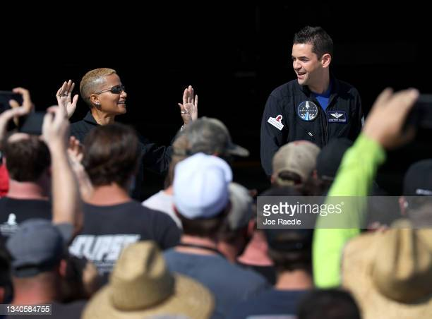 Inspiration4 crew members Jared Isaacman , and Sian Proctor prepare to leave for their flight on the SpaceX Falcon 9 rocket and Crew Dragon at launch...