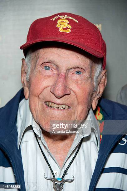 Inspirational speaker Louis Zamperini attends the Winforever Always Compete Speaker Series With Seattle Seahawks Head Coach Pete Carroll And American...