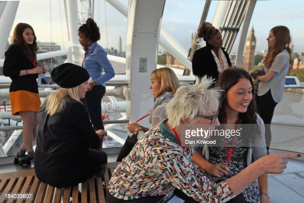 Inspirational women from various walks of life including English comedian Jenny Eclair take part in a mentoring session in a London Eye pod with 6th...