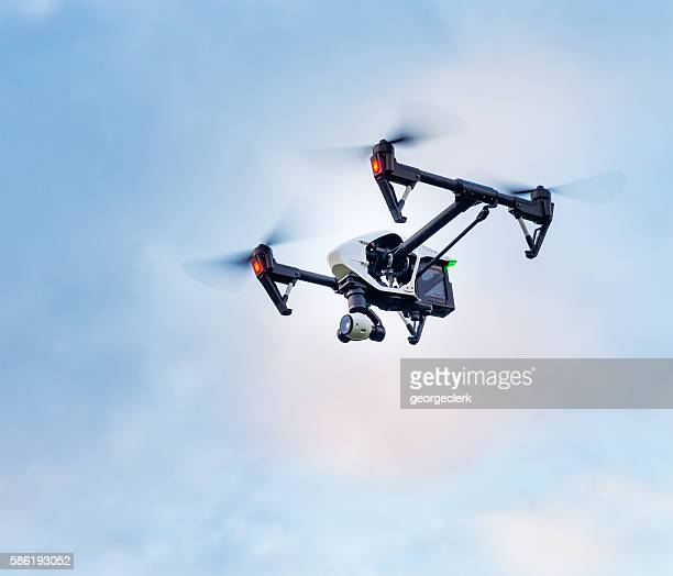 DJI Inspire quadcopter with 4k videocamera in flight