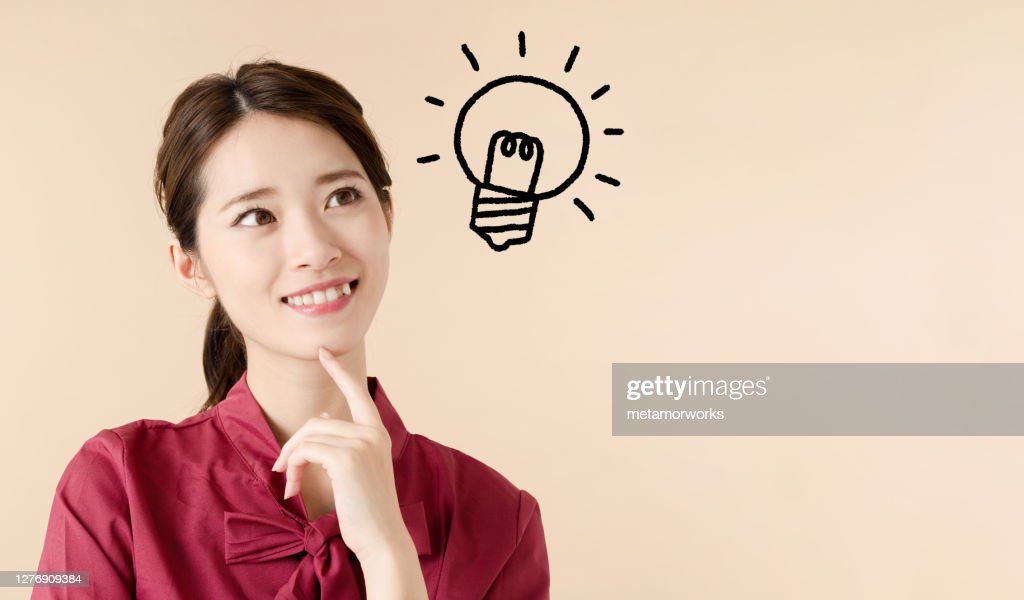 Inspired young asian woman concept. : Stock Photo