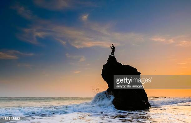 inspiring beach lanscape man - malibu beach stock pictures, royalty-free photos & images