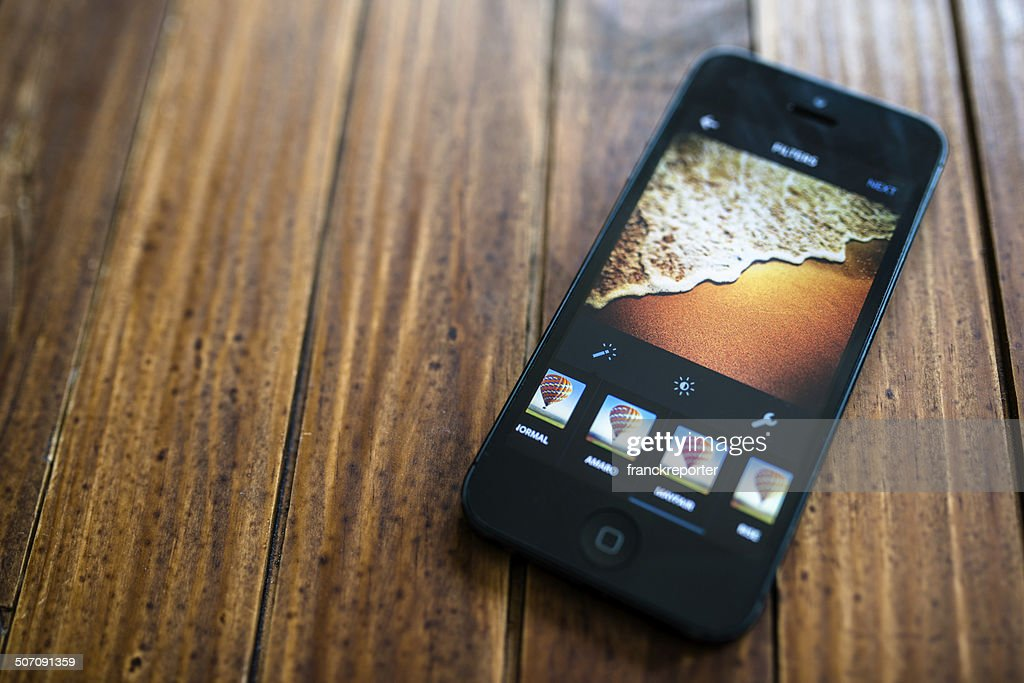 Instagram app on an iphone 5 : Stock Photo