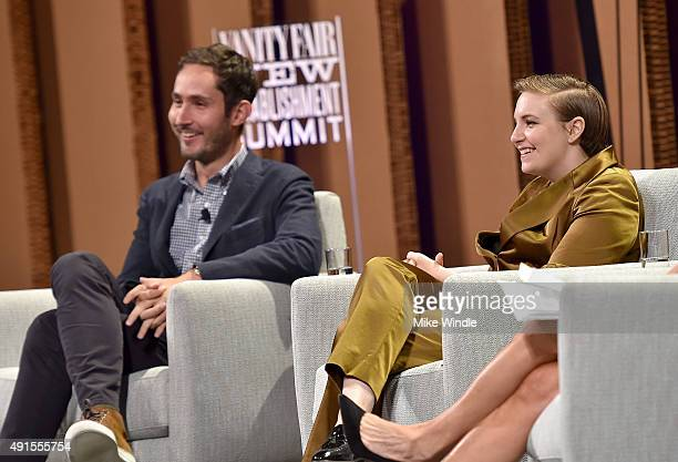 "Instagram Cofounder and CEO Kevin Systrom and filmmaker Lena Dunham speak onstage during You ""Like"" It … So Now What at the Vanity Fair New..."