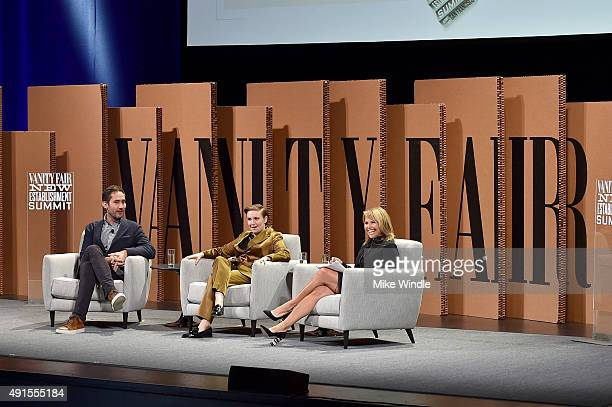"Instagram Cofounder and CEO Kevin Systrom filmmaker Lena Dunham and Katie Couric speak onstage during You ""Like"" It … So Now What at the Vanity Fair..."
