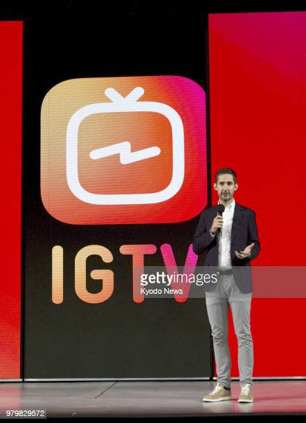 Instagram Inc CEO Kevin Systrom speaks at an event in San Francisco on June 20 unveiling his company's longform vertical video app IGTV ==Kyodo