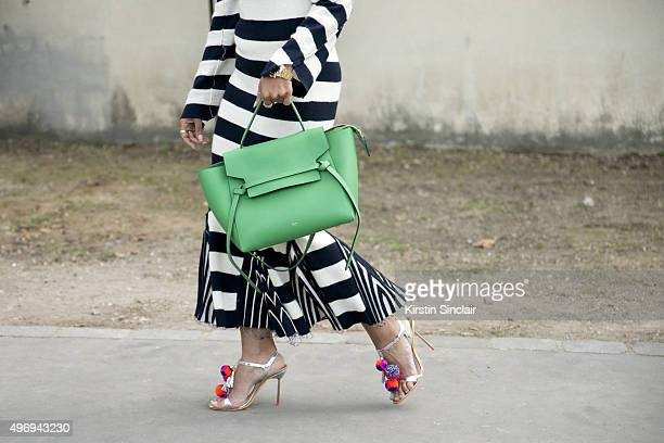 Instagram Influencer and Investor Haif Zamzam al Hammadi wears a Celine dress and bag and Sophia Webster shoes on day 6 during Paris Fashion Week...