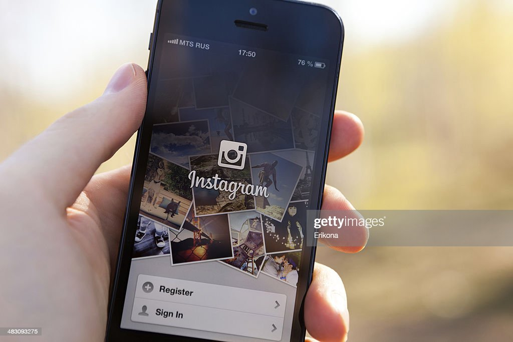 O Instagram no iPhone 5 : Foto de stock