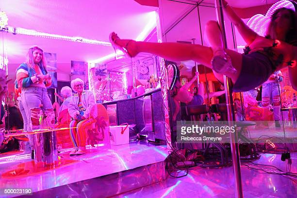 Instagram personality Baddie Winkle watches artist Sierra Grace at 'Motelscape' an interactive fantasy performance and installation presented by...