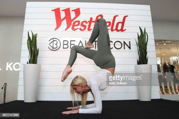 Instagrammer and yoga teacher Caitlin Turner holds a yoga class at the Beauty Balance event at Westfield Galleria at Roseville on March 11 2017 in...
