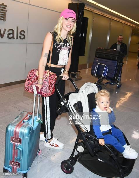 Instagrammer/entrepreneur Chiara Ferragni and her son Leone Ferragni are seen upon arrival at Narita International Airport on July 10 2019 in Narita...