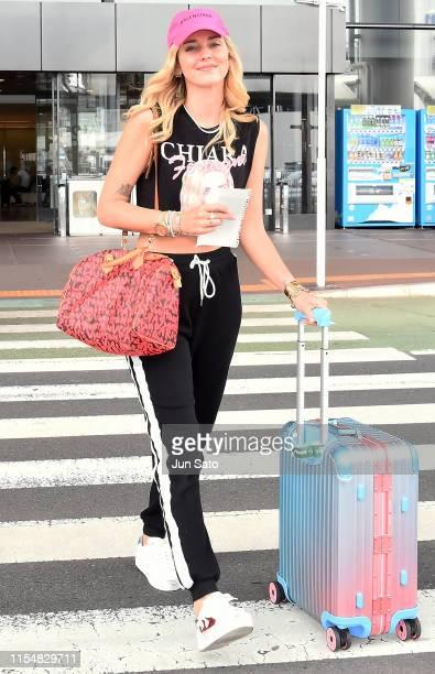 Instagrammer/entrepreneur Chiara Ferragni is seen upon arrival at Narita International Airport on July 10 2019 in Narita Japan