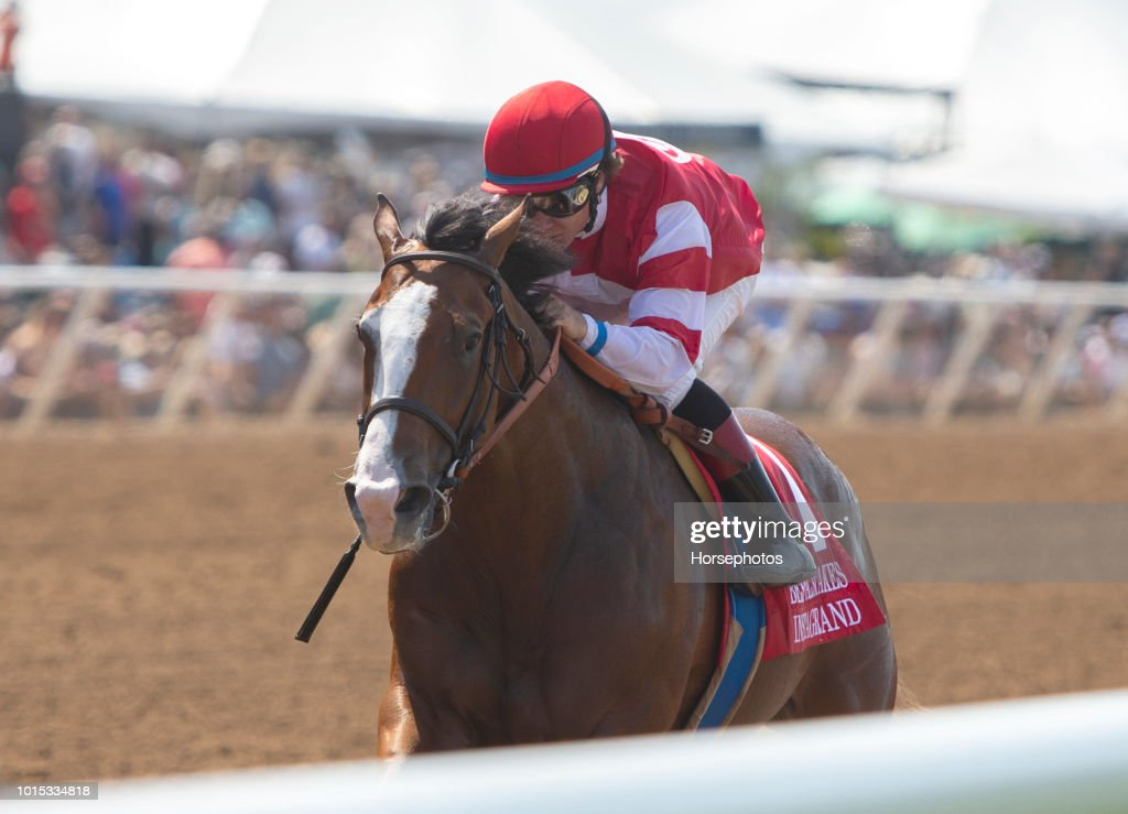 Instagrand, with Drayden Van Dyke up, wins the G2 Best Pal Stakes for trainer Jerry Hollendorfer and owner OXO Equine, Del Mar Thoroughbred Club, CA on August 11, 2018 in Salona Beach, California