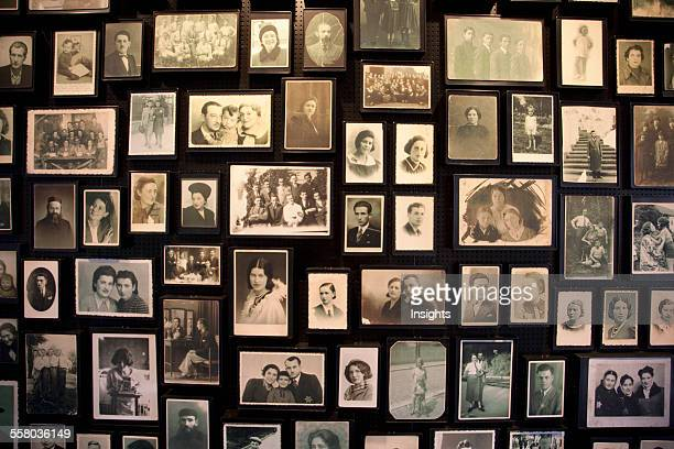 Installation At The Sauna Displaying Photographs Found Among The Belongings Of People Murdered At The AuschwitzBirkenau Concentration Camp Oswiecim...