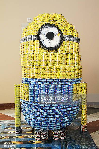 """Installation """"Despicable Hunger: Minons CanRise!"""" by Perkins Eastman/Harlem RBI at Canstruction: 21st Annual NYC Competition - Media Preview Event at..."""