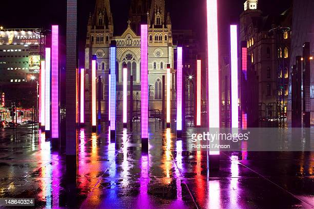 Installation for Light in Winter celebration in Federation Square and St. Paul's Cathedral.