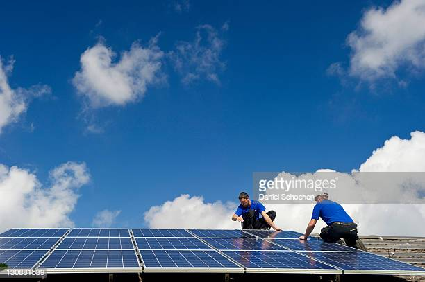Installation of a solar collector, near Freiburg in Breisgau, Baden-Wuerttemberg, Germany, Europe