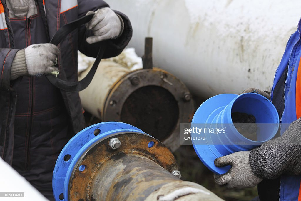 Installation of cured-in-place pipe renewal systems (CIPP) : Stock Photo