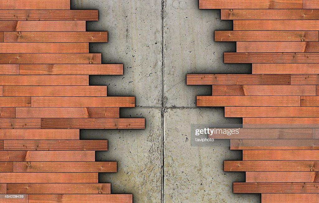 installation of parquet on concrete floor : Stock Photo