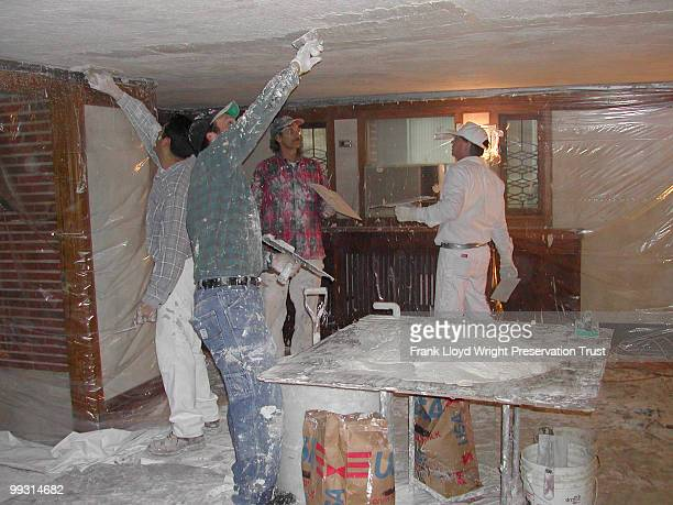 Installation of plaster ceiling in entry hall looking north Chicago Illinois January 21 2002