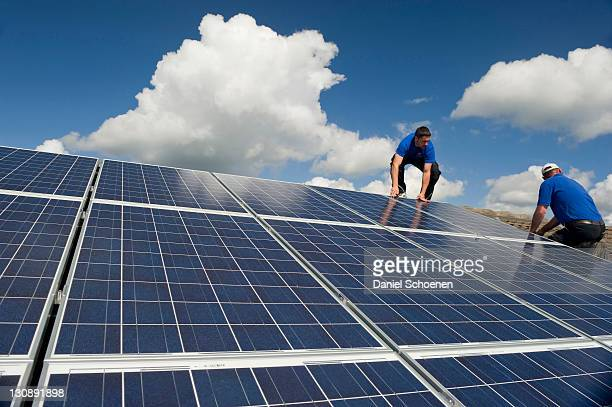 Installation of solar panels near Freiburg im Breisgau, Baden-Wuerttemberg, Germany, Europe