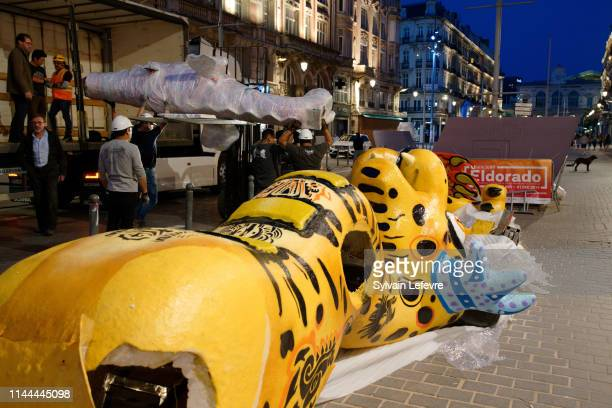 Installation of the monumental Mexican traditional sculptures the Alebrijes made by Paco Enriquez and Jesus Sanabria on the street Faidherbe la...