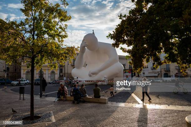 """Installation of the work Man in Andria in Piazza Catuma on 3 September 2021. """"Man"""" is the title of a work by the Australian artist Amanda..."""