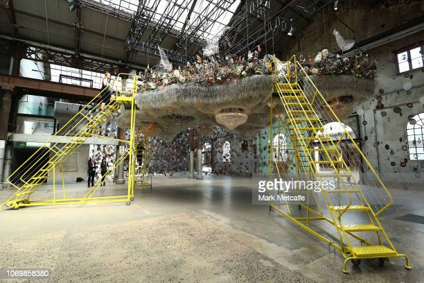 Installations by artist Nick Cave are seen during the Australian premiere of Nick Cave's solo exhibition 'Until' at Carriageworks on November 20 2018...