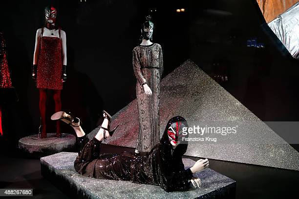 2b6043099ee4 Installations by designer Jean Paul Gaultier are seen at the Swarovski  Kristallwelten store on September 15