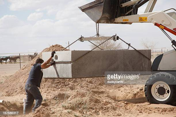 installing a septic tank - septic tank stock photos and pictures