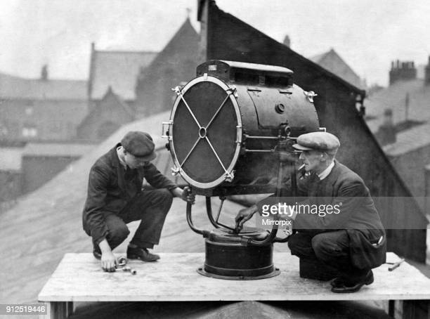 Installing amplifiers at Goodison Park, home to Everton football club. Walton, Liverpool, 27th January 1932.