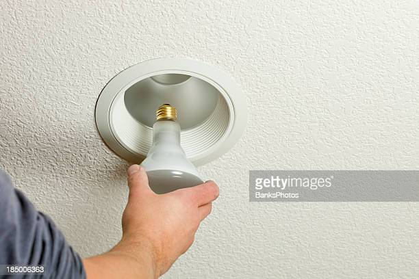 Installing Incandescent Recessed Light Bulb in Ceiling Fixture