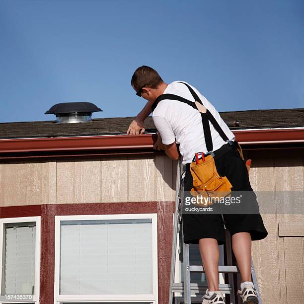 Installing Seamless Gutters on Home