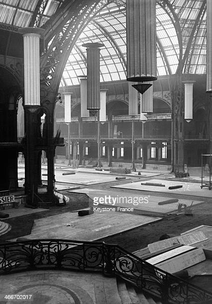 Installing the Paris Auto Show in the 'Grand Palais' exhibition hall in September 1929 in Paris France
