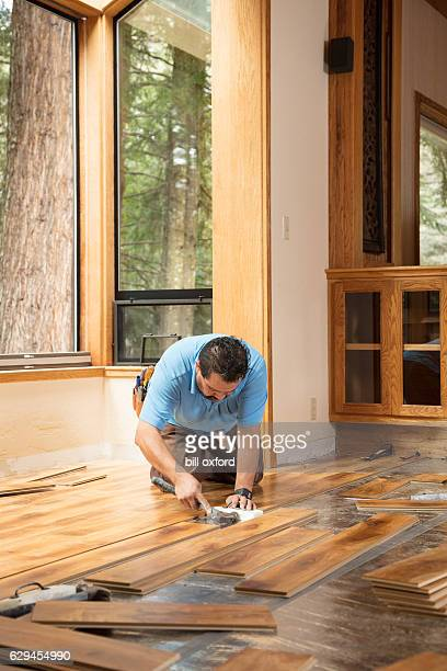 installing wood flooring - hardwood stock pictures, royalty-free photos & images