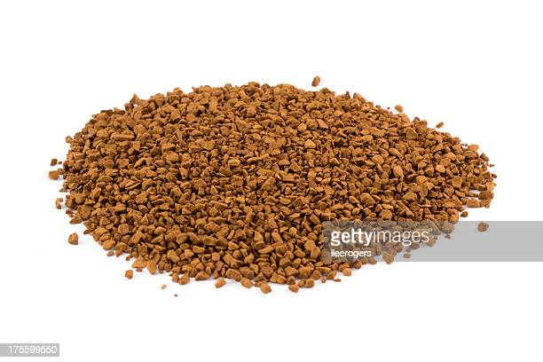 Instant coffee granules isolated on a white background