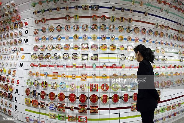Instant cup noodles are on display at the Instant Ramen Museum on April 8 2008 in Osaka Japan It has been fifty years since Momofuku Ando founder of...