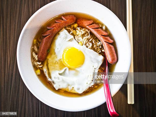 Instant Noodles with Sausage and Fried Egg Sunny Side Up