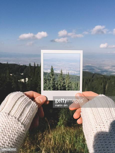Instant photo of mountains