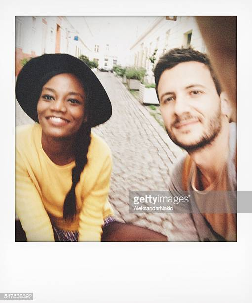 Instant photo selfie of a young couple